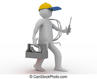 Walking electrician with toolbox, cable and cap. 3d rendered...