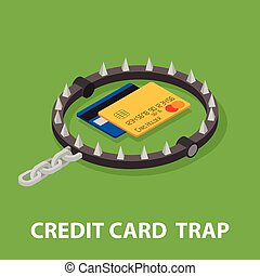 The trap of credit card with their high interest rates. Isometric illustration.
