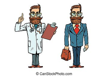 Hipster doctor and businessman. Comic cartoon style pop art...