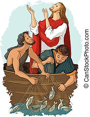 Jesus and the Miraculous Catch of Fish - Christian vector...