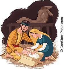 Nativity scene with Holy Family. Jesus, Mary and Joseph