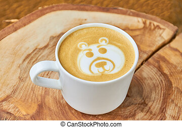 Bear coffee foam art.