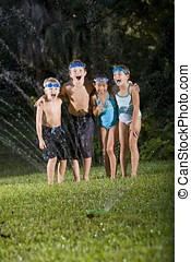 Children laughing and shouting by lawn sprinkler - Four...