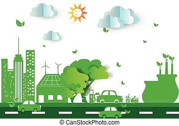Green city  with eco concept elements. Vector illustration