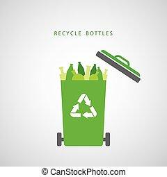 bottles in a green recycling bin