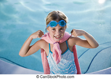 Super girl protecting the pool - Girl, 7 years, playing by...