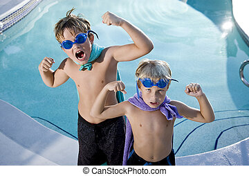 Superheroes show their muscles by swimming pool - Boys, 7...