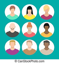 People face, avatar icon, cartoon character