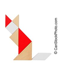 Tangram puzzle on white - Cat silhouette made from tangram...