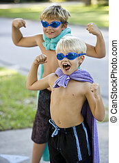 Boy superheroes with mask and cape - Boys, 7 and 9 years,...