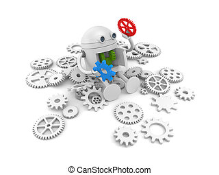 Robot with details of its mechanism. For your website projects. 3d illustration
