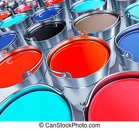 Buckets with a paint. 3d illustration