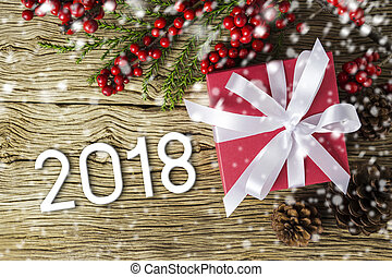 Christmas and New Year 2108 of red gift box and red...