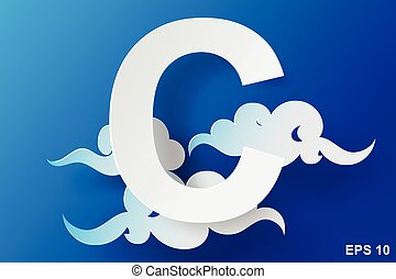 paper art of character C cloud,blue sky,vector