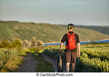 Rear view of the young cyclist riding bicycle on the road of the field.