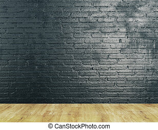 Unfurnished room interior with textured brick wall and...