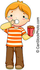 Food Allergy - Illustration of a Kid Having an Allergic...