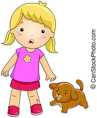 Dog Bite - Illustration of a Girl Bitten by a Dog