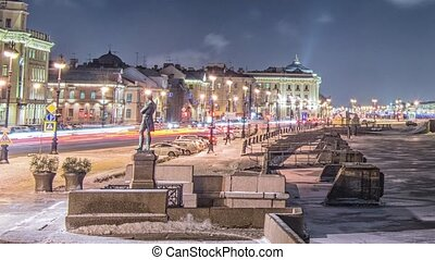 Beatiful view Neva river in Saint Petersburg, Russia - St....