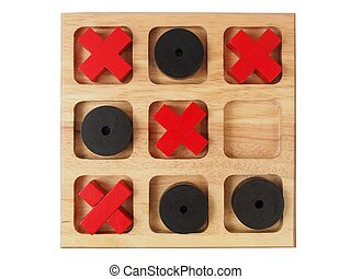 Wooden tic-tac-toe on white - Big wooden tic-tac-toe game...