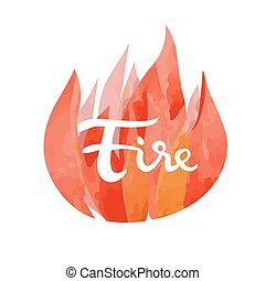 Fire symbol of The Four Elements with lettering isolated on...