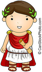 Roman - Illustration of a Man Dressed in a Roman Costume