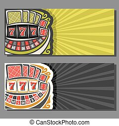 Vector banners for Gambling games: 2 layouts with roulette...