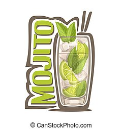 Cocktail Mojito - Vector illustration of alcohol Cocktail...
