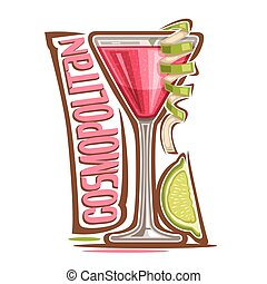 Cocktail Cosmopolitan - Vector illustration of alcohol...