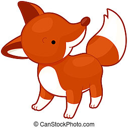 Fox - Illustration of a Cute Red Fox Glancing Upward