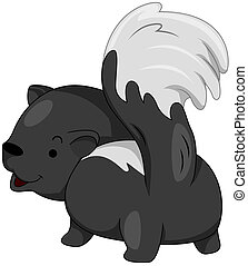 Skunk - Illustration of a Skunk Preparing to Release its...