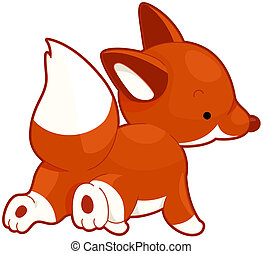 Fox - Illustration of a Red Fox Running While Looking Over...