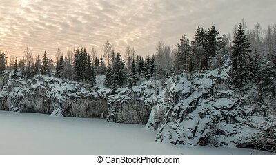 Ruskeala marble quarry, Karelia, Russia - Marble kanyon in...