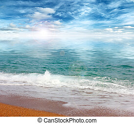 Beautiful sandy beach of the Mediterranean Sea and a sunny...