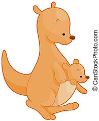 Kangaroo - Illustration of a Mother Kangaroo with Her Baby...