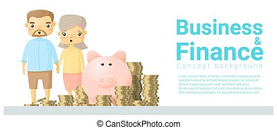 Business and Finance concept background with family saving money 2