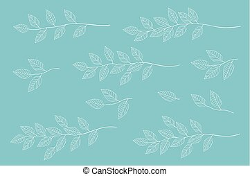 blue tree branches set