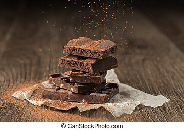 Pieces of chocolate sprinkled cocoa