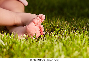 Close up of baby's feet on the green grass on the meadow at...