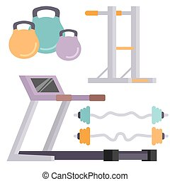Fitness gym club vector icons athlet and sport activity body...