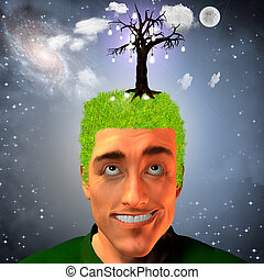Idea fruit growth - Man with tree of light bulbs on head