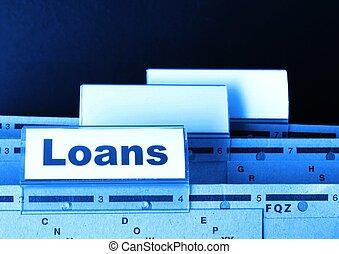 loan application in business folder showing financial...