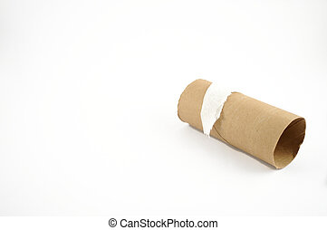 End of the Roll - The end of a toilet paper roll on a white...