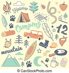 Camping Freehand Hand Drawn Doodle. Mountain Holidays with Tent, Animals and Forest. Vector illustration