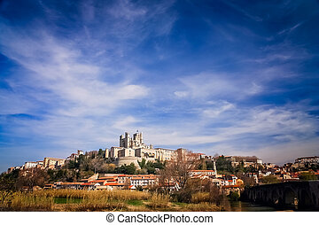 Beziers Cathedral on top of a hill - Beziers - medieval...