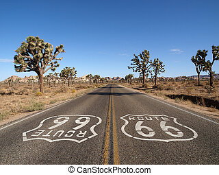 Route 66 with Joshua Trees deep inside Californias Mojave...