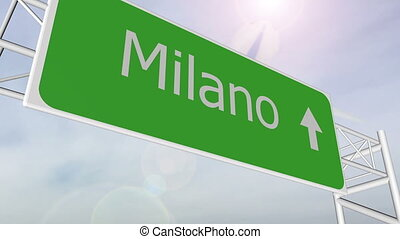 Milan indication location highway road sign with airplane...