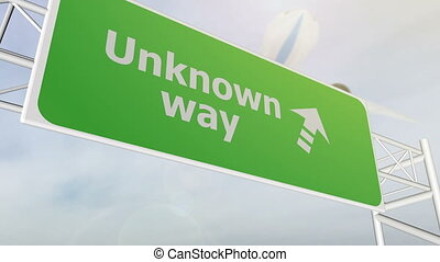 Unknown way concept road sign on highway - Unknown way road...
