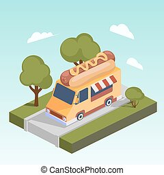 Fast food motorhome with hot dog isometric vector