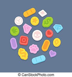 Ecstasy MDMA pills. Recreational party drugs concept,...